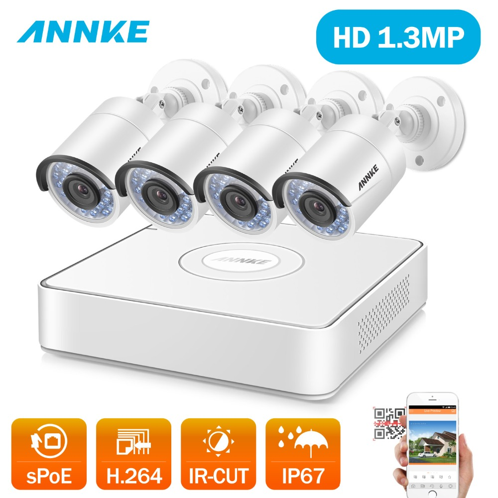 ANNKE 4CH Wireless sPOE CCTV System 1080P NVR 4PCS 960P Smart IR Outdoor P2P Wifi IP Security Camera System Surveillance Kit WDR annke nvr kit 4 cameras 1080p 4ch wireless wifi nvr ip network cctv security camera system surveillance kit ip66 indoor outdoor