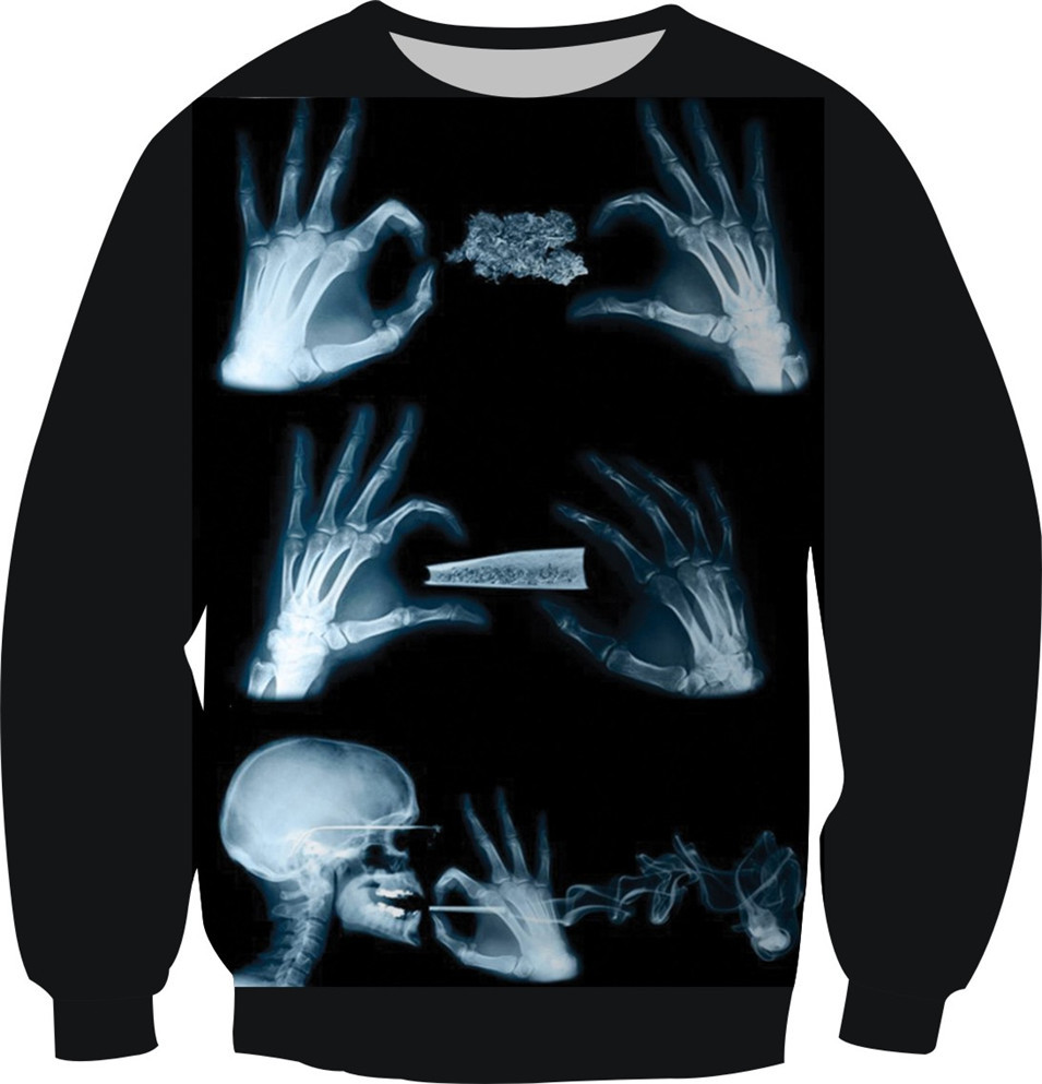 New 2018 3D Print Fashion Clothes Hand And Head Skull Smoking Sweatshirts Crewneck Sweats Pullover Tops Women Men Fleece Hoodies