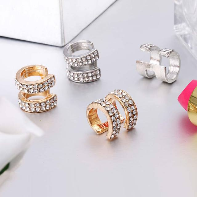 Crystal Earrings Small Round Ear Cuff Gold and Silver Plated 2 Rows Rhinestone Clip Earrings 5