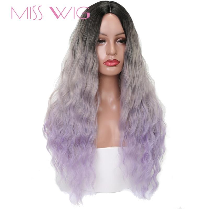 Aliexpress Com Buy Miss Wig Long Wavy Black Ombre Grey