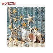 WONZOM Starfish Polyester Shower Curtain with 12 Hooks For Bathroom Decor Modern Bath Waterproof Accessories