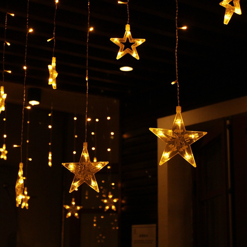 Christmas Lights AC 220-240V  Romantic Fairy Star LED Stars Curtain String Lighting For Holiday Wedding Garland Party Decoration 30m 300 led 110v ball string christmas lights new year holiday party wedding luminaria decoration garland lamps indoor lighting