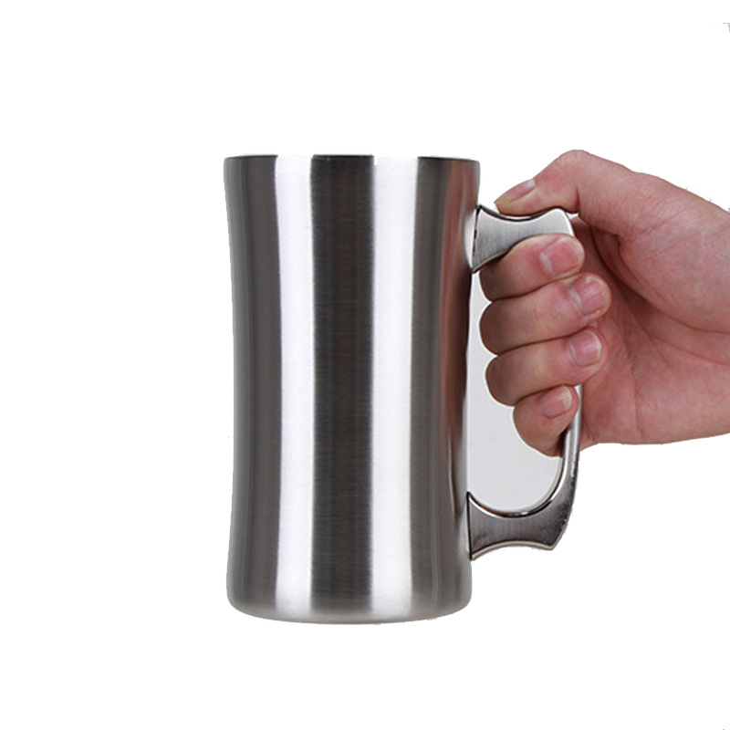 <font><b>20oz</b></font> stainless steel beer <font><b>mug</b></font> with handle double wall vacuum insulated big capacity coffee cup cocktail cold cup W8399 image