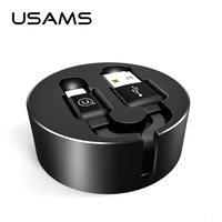 USAMS Retractable Fast Charging Cable For iPhone Charging Data USB Cable For iPhone 8 7 6 5 iPad