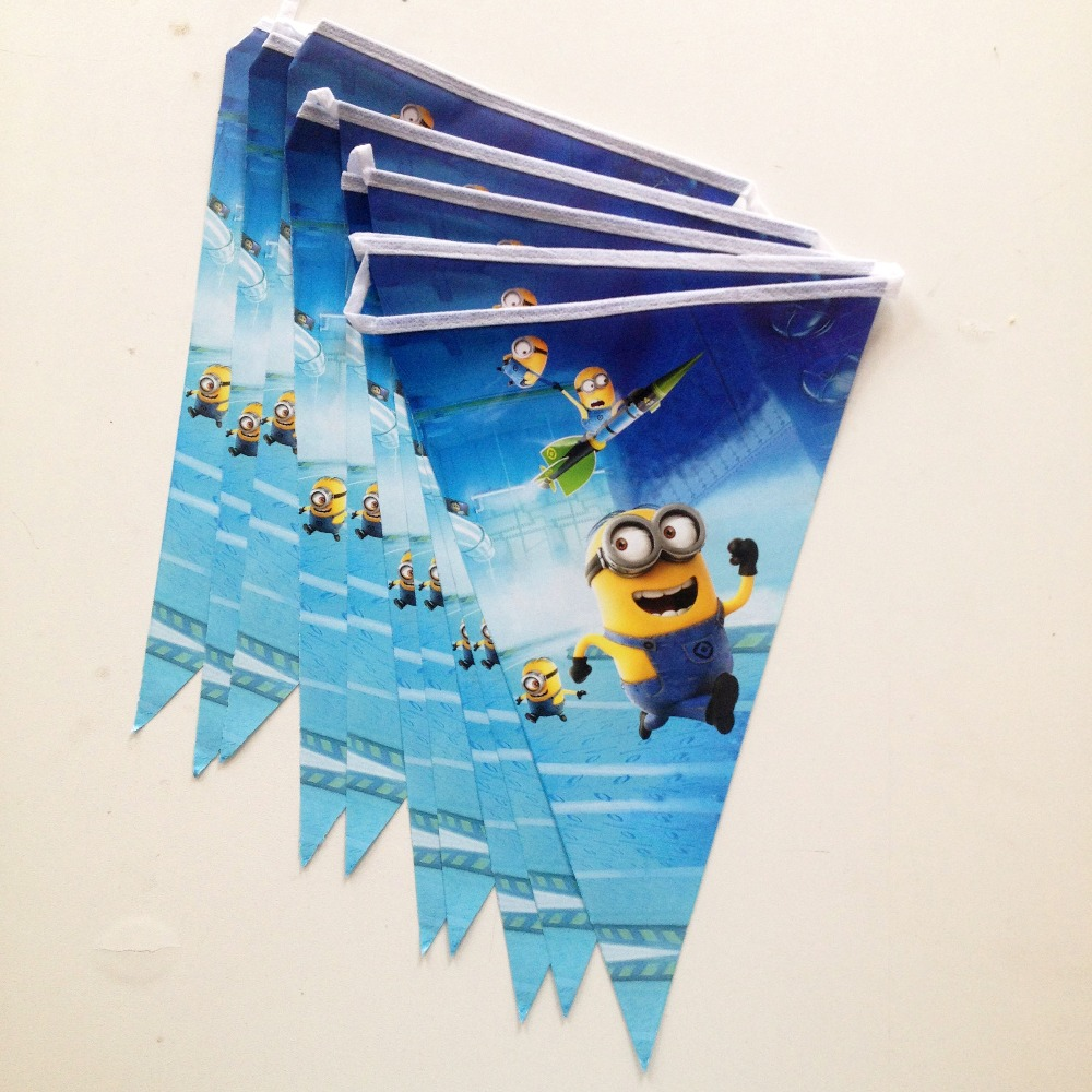Minions Party Supplies Banner And Flag Cartoon Theme Favors Happy Birthday Decoration Supples