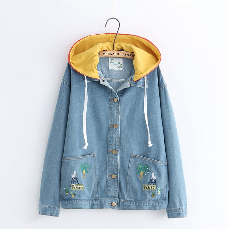 Loose Blue Kawaii Denim Jackets For Women Korean Harajuku Vintage Boyfriend Cute Cat Long Sleeve Jean Coats Basic Outerwear