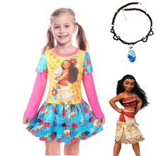 2018 Kids Adventure Outfit Children Vaiana Moana Necklace+Princess dress Christmas Party Cosplay Costume girl Nightgown Dresses цена