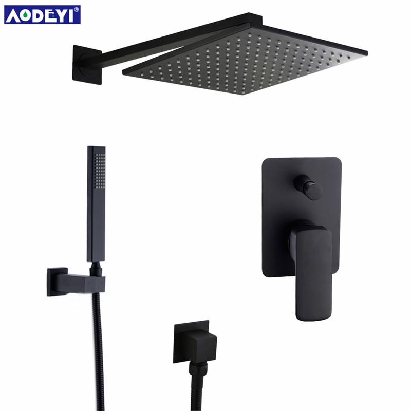 AODEYI Premium Quality Brass Black Shower Set Bathroom 8