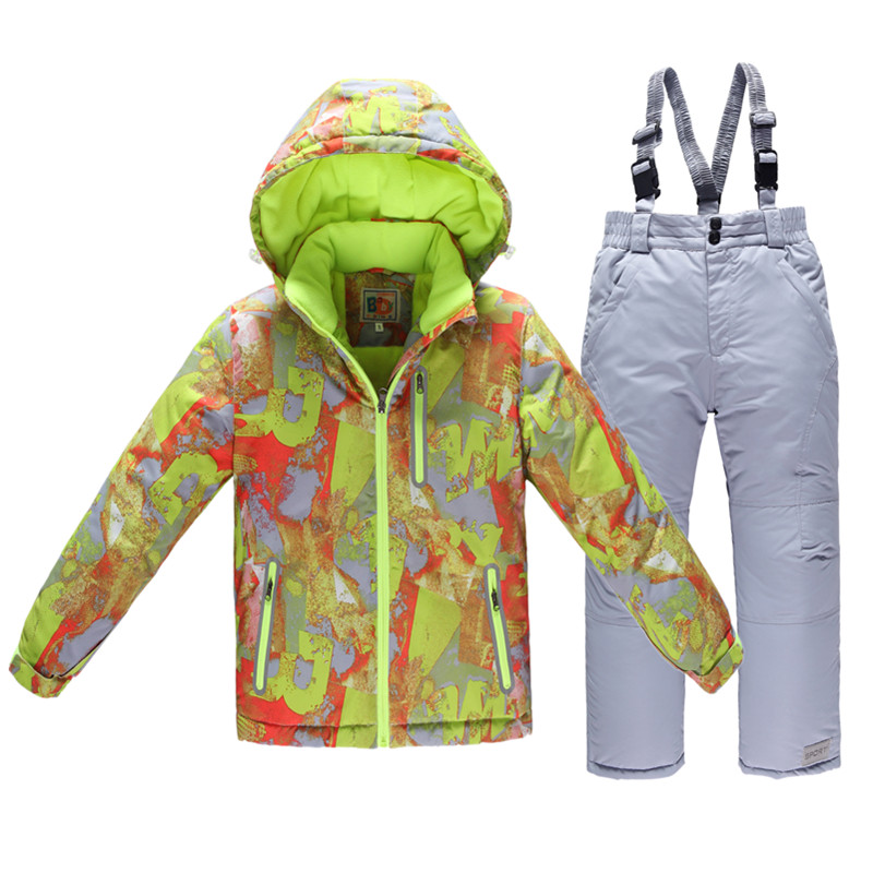 Dollplus 2019 Newly Children Winter Ski Snow Suits Jacket+Overalls 2Pcs Sets Tracksuit Sports for Boys Clothing Kids Warm Suits