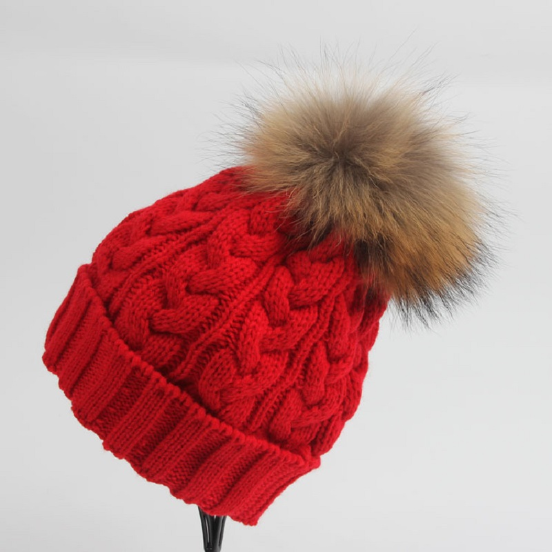 7d65d348dc2 New 2016 Women Caps Top Fashion Twist Knitted Beanie Hats 15cm Width Real  Raccoon Fur Ball Hats Warm Pom Pom Beanies CP032-in Skullies   Beanies from  ...