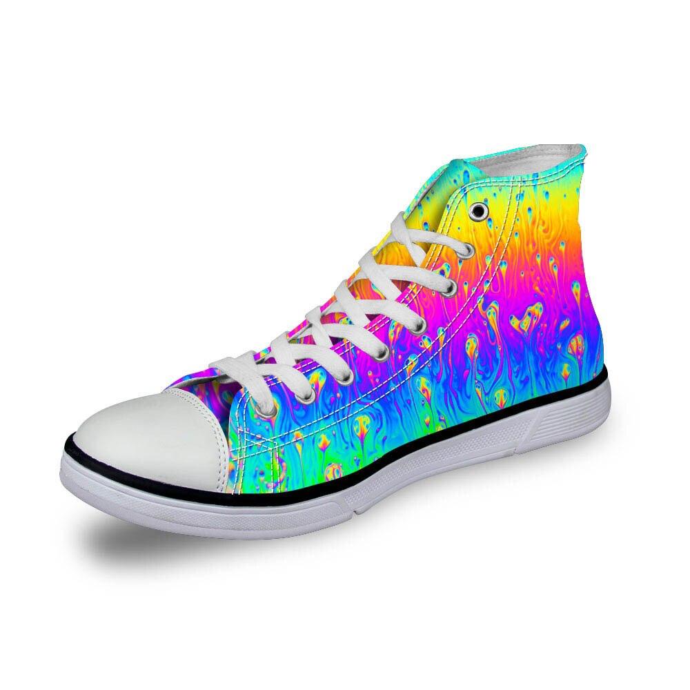 Noisydesigns dames baskets femmes arc-en-ciel vichy impression 3D vintage chaussures plates vulcanisé en plein air haut décontracté filles mode