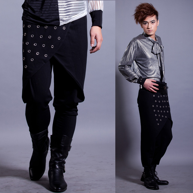 Masculino ds trajes dj personalidade rebite harem calças calças masculinas