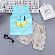 3D Banana vest Summer Baby Clothing Sets Children Boys Girls Kids Brand Sport Suits Tracksuits Cotton Tops + Pant Shirt DS39 цена