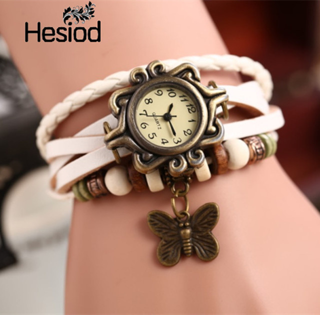 Hesiod Antique Leather Bracelet Watch Vintage Women Wrist Watch Butterfly Pendan