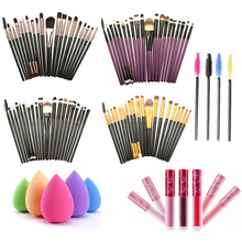 20pcs Eye Makeup Brushes +1 Puff +4 Mascara Brush +1 Waterproof  Lip Gloss Brush kits Makeup Tools Sets