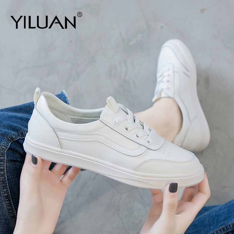 Yiluan Women Casual Shoes White Genuine Leather Shoes Lace Up Female Shoes Fashion Students Sneakers Women