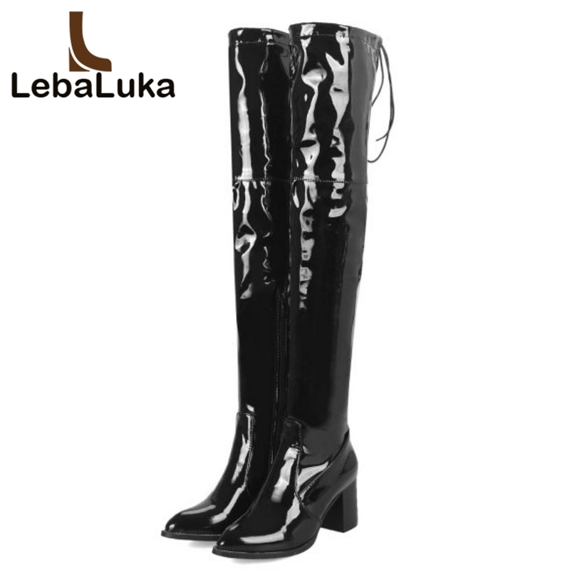 Lebaluka Taille Noir Chaud Bottes Haute forme Femmes