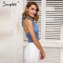 Simplee Halter blue backless camis women Sexy deep v elestic waist crop top Casual ruffle bow tank 2018 summer camisole