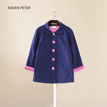 Girls trench coat Autumn girl kid jackets and Coat Spring Fashion Children Outerwear solid outsie Polka dot lining Girl Clothes