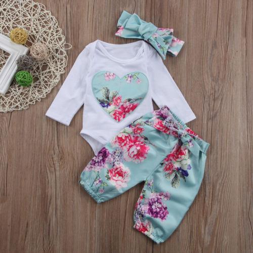 Newborn Kid Baby Girl clothes set Floral long sleeve  Jumpsuit 3pcs print Pants +headwear Outfit Set clothes