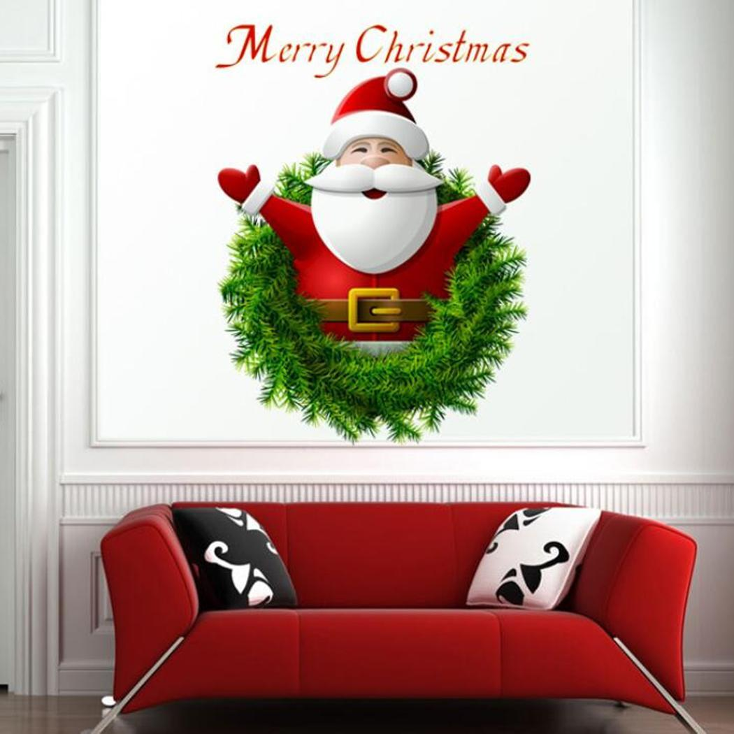 Bedroom Home etc Santa Stickers PVC Room Red Art Claus Bedroom Wall Decals Living Decoration Wall Christmas