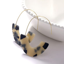 FAMSHIN Boho Fashion Leopard Grain Multicolor Big Hook Acrylic ZA Earrings Special Design Semicircle Resin Drop Earring 2019 New(China)