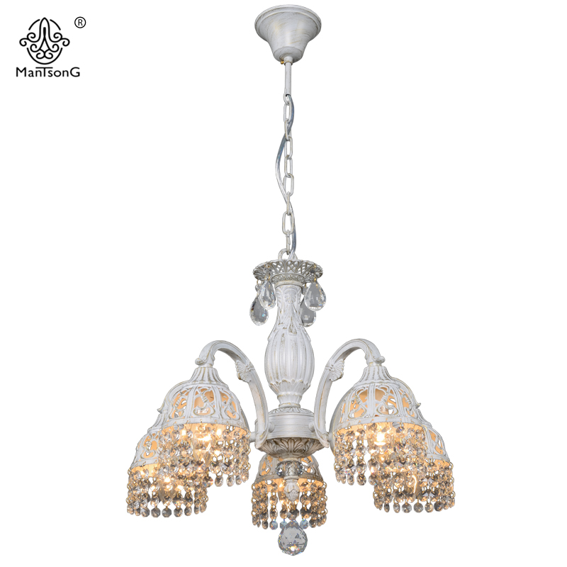 Europe Vintage White Pendant Lamp for Bedroom Living Room Retro Crystal Pendants Chandeliers Lights Pendant Lamps Home Lighting white crystal pendants chandeliers lights vintage pendant lamp for living room bedroom europe style pendant lamps home lighting