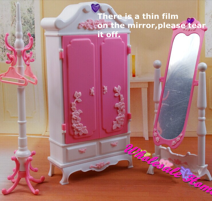 Doll Toy Closet Wardrob Mirror Clothes Rack Set