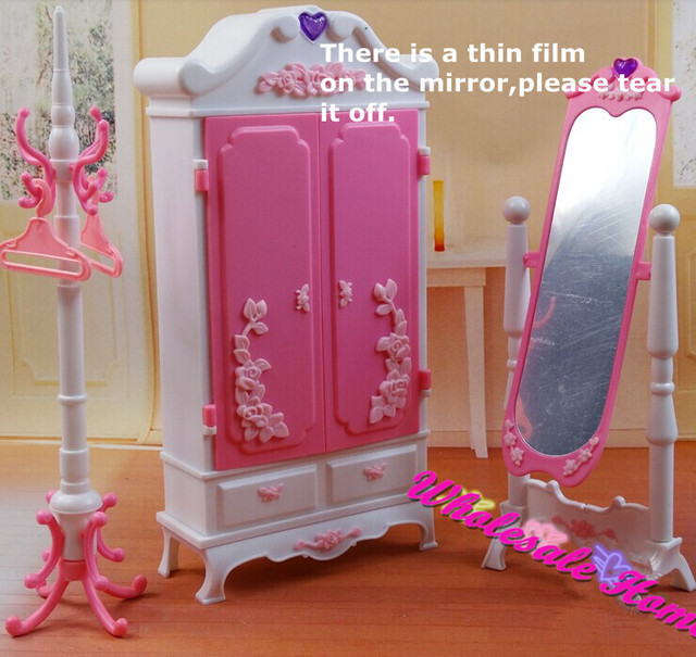 Doll Toy Closet Wardrob Mirror Clothes Rack Set Dollhouse Furniture Puzzle DIY