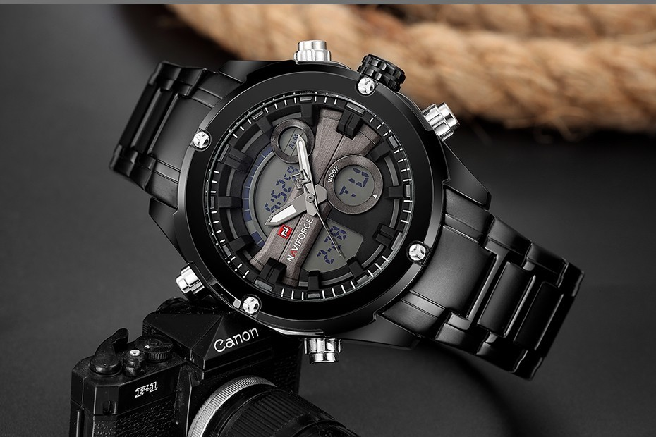 Top Luxury Brand NAVIFORCE Men Full Steel Sport Watches Men's Quartz Analog LED Clock Man Military Wrist Watch Relogio Masculino 4