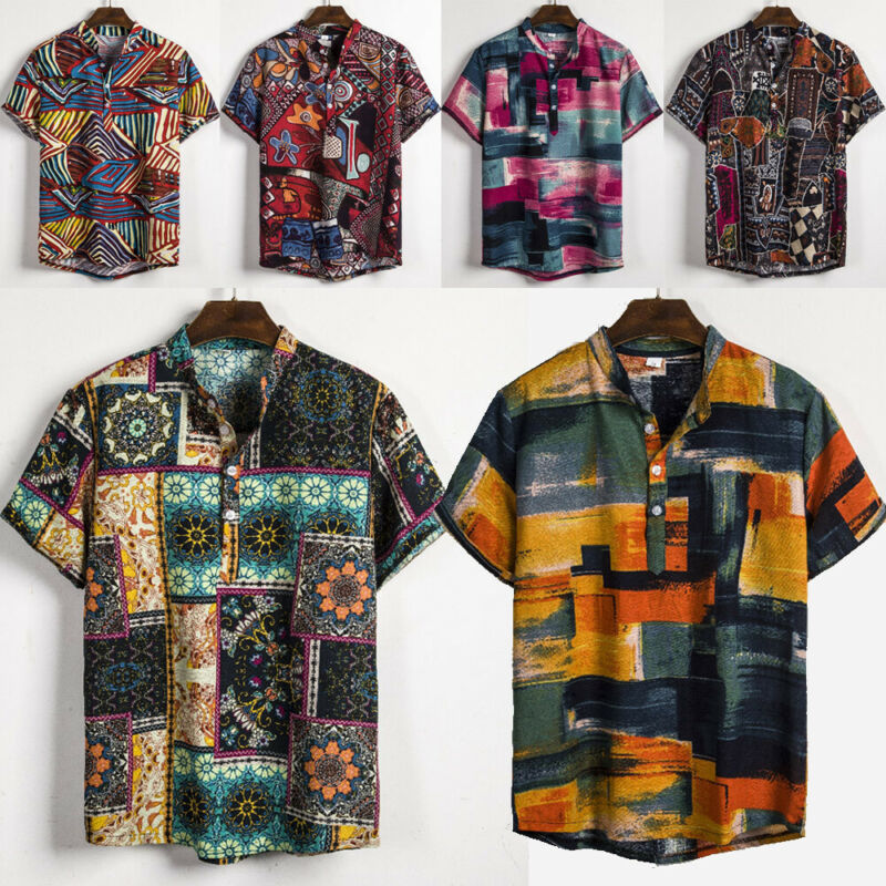 National Style Men Linen Floral Print Short Sleeve Shirt Summer Hawaii Holiday Loose Casual Stand Shirts Top
