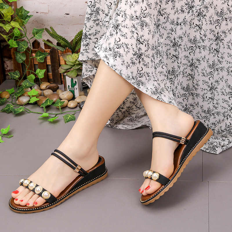 2e3f78ea28f Women Black  Green   Apricot Wedge Sandals 2018 Summer Platform Wedges  Fashion Pearls Girls Platform