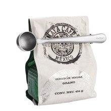 Фирменная прочная чайная мерная ложечка для кофе из нержавеющей стали с портативным зажимом для сумки 1 шт
