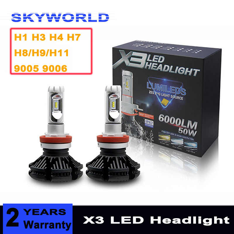 2pcs X3 ZES H4 H7 H1 H3 LED Car Headlight Bulb 3000K/6500K/8000K Yellow White Blue Lamp H8/H9/H11 9005 9006 LED Car Lights