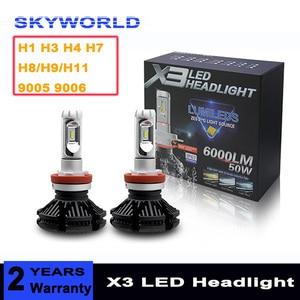 2pcs X3 ZES H4 H7 H1 H3 LED Ca