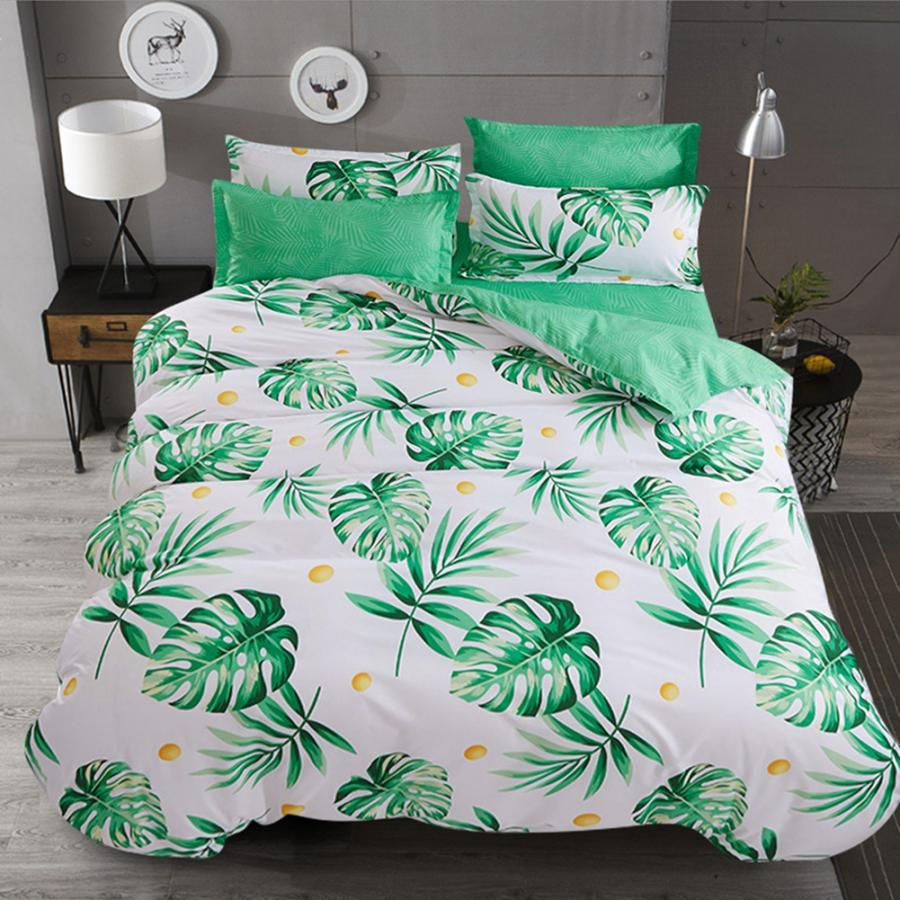 Bedding Bed Set Comfortable Green Leaves Printed Flat Sheet Quilt Cover Pillowcases Bedding Set Comforter Bedding Sets Luxury