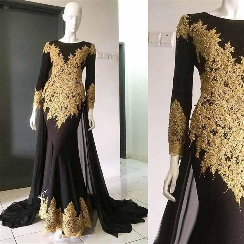 Long Sleeve Evening Dress 2019 Black Mermaid Chiffon Prom Gowns With Gold Lace High Quality Women Special Occasion Gowns Cheap Платье