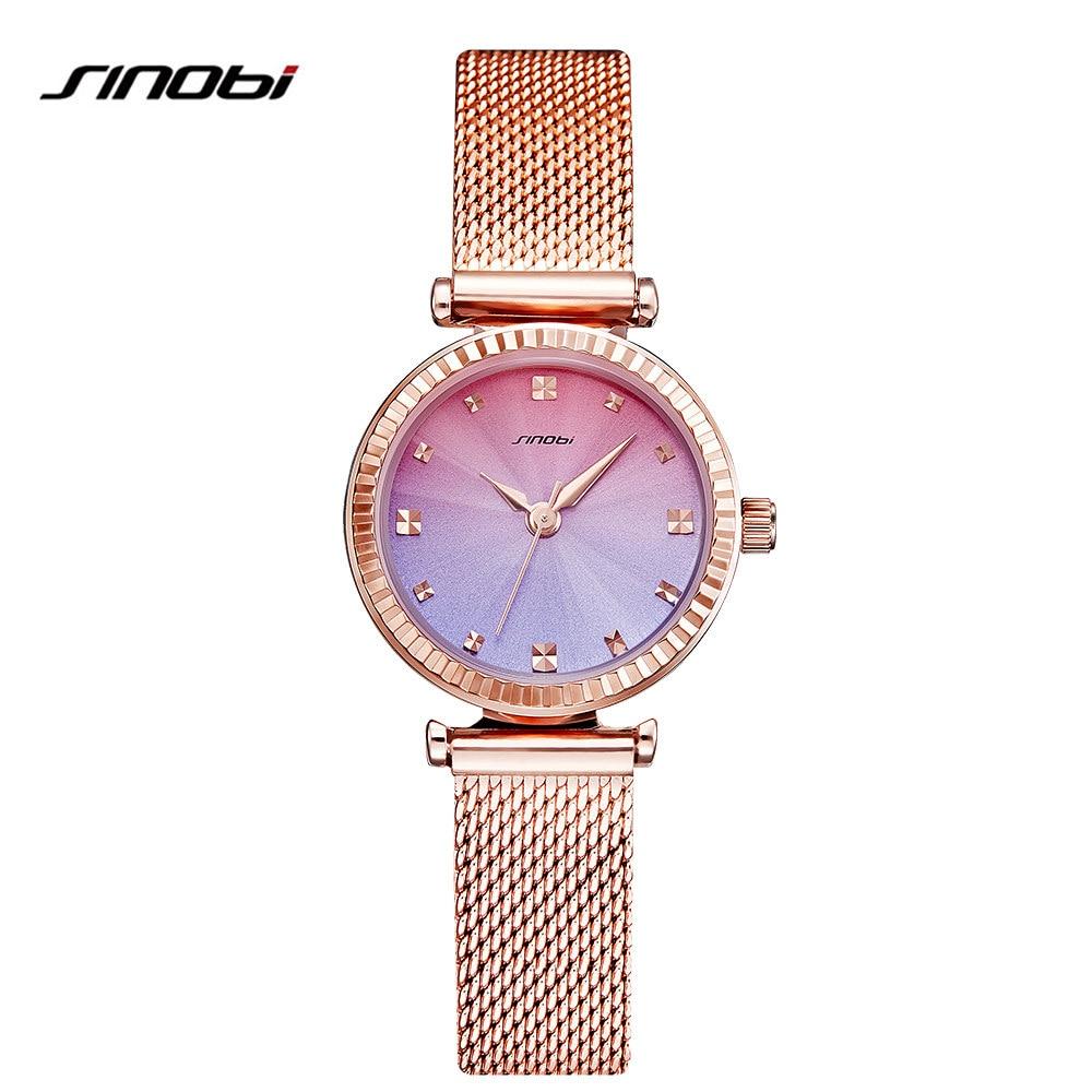 SINOBI Women Elegant Bracelet Wrist Watches Brand Golden Watch Colorful Dial Hours Fashion Watches Women Reloj Mujer 2017 elegant bracelet style wrist watch coffee golden 1 x 377