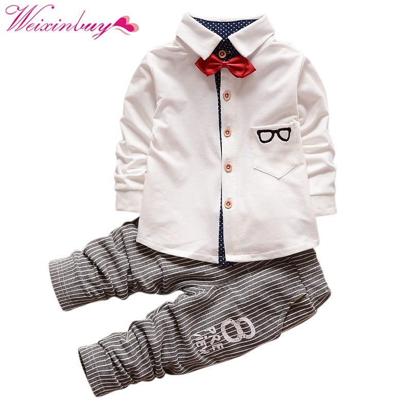 Baby Boy Cloth Set Long Sleeve Glasses Printed Tops Shirt with Necktie + Striped Pants 2Pcs Cotton Outfits 2pcs set baby clothes set boy