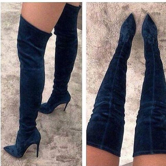 Women Chic Black Suede Thigh High Boots Thin High Heels Dress Pumps Nightclub Girls Dancing Boots Gladiator Shoes Dropship