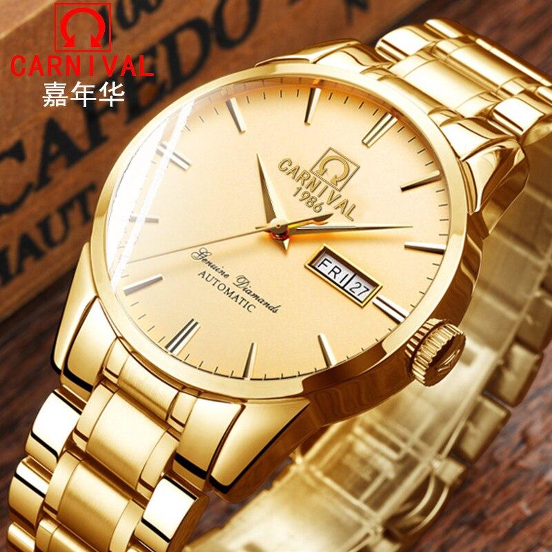 Карнавал новый роскошный золотой Бизнес Для мужчин часы лучший бренд автоматические часы Для мужчин двойной календарь Сапфир Водонепрониц...