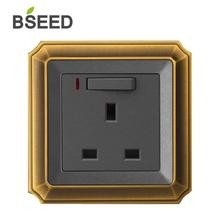 BSEED UK Standard Wall Plug Socket Luxury Decorative Bronzed Switched With LED Indicator Light Outlet Switch
