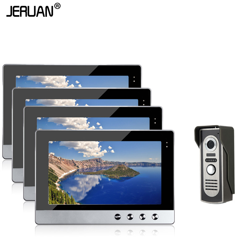 JERUAN New Wired 10 inch TFT Video Intercom Door Phone System 4 Screens + 700TVL Waterproof Outdoor Camera In Stock brand new wired 7 inch color video intercom door phone set system 2 monitor 1 waterproof outdoor camera in stock free shipping