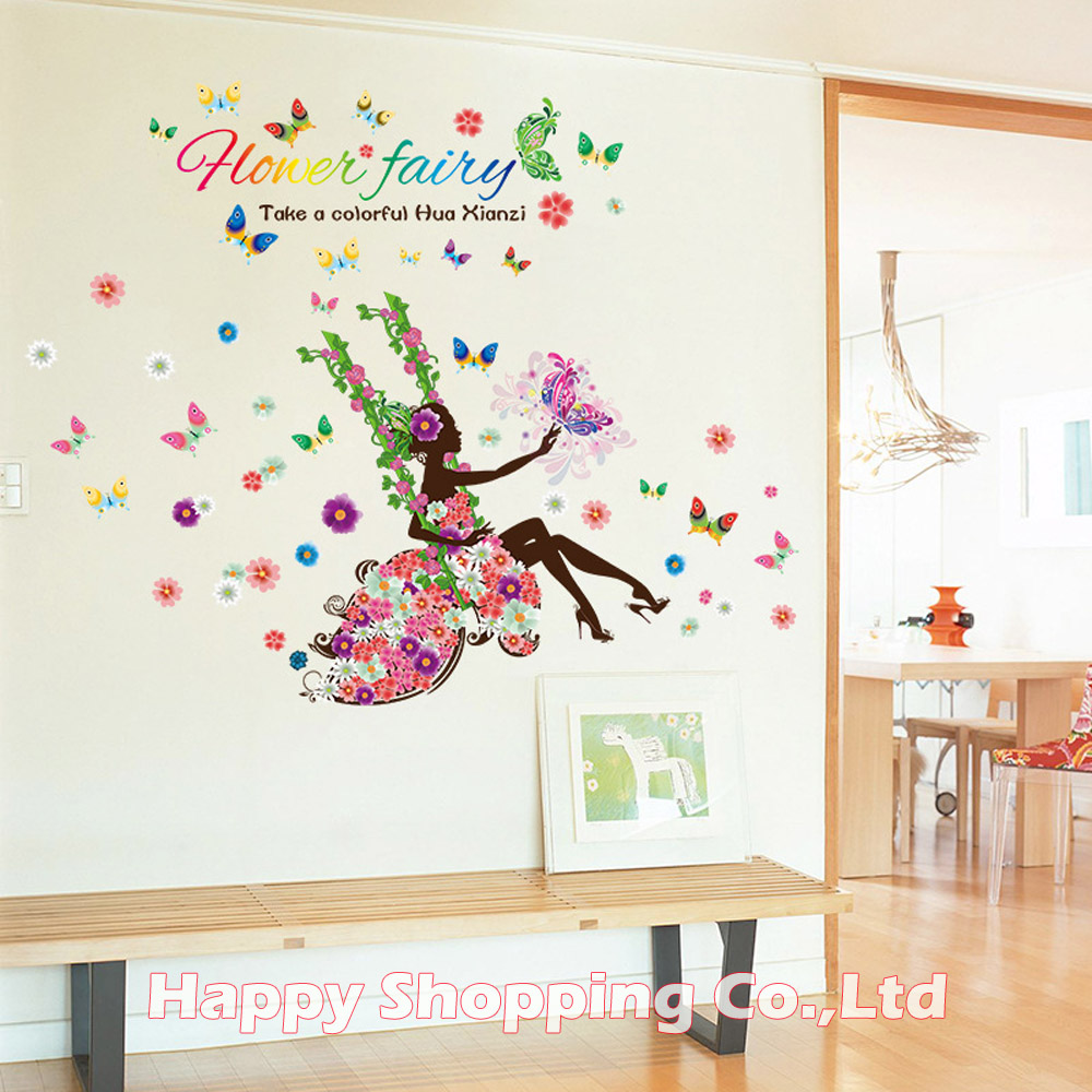 17085cm large size flower fairy art wall decals for bedroom girls 17085cm large size flower fairy art wall decals for bedroom girls living room sofa tv back removable modern stickers home decor in underwear from mother amipublicfo Gallery