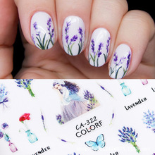 Newest CA-322 purple flower design 3d nail manicure back glue decal decoration stickers