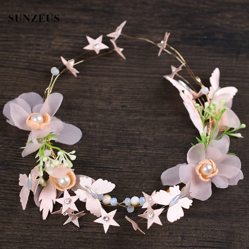 New Stars Flowers Garland Pink Bridal Headband Fairy Head Chain Headwear Free Shipping SQ0288