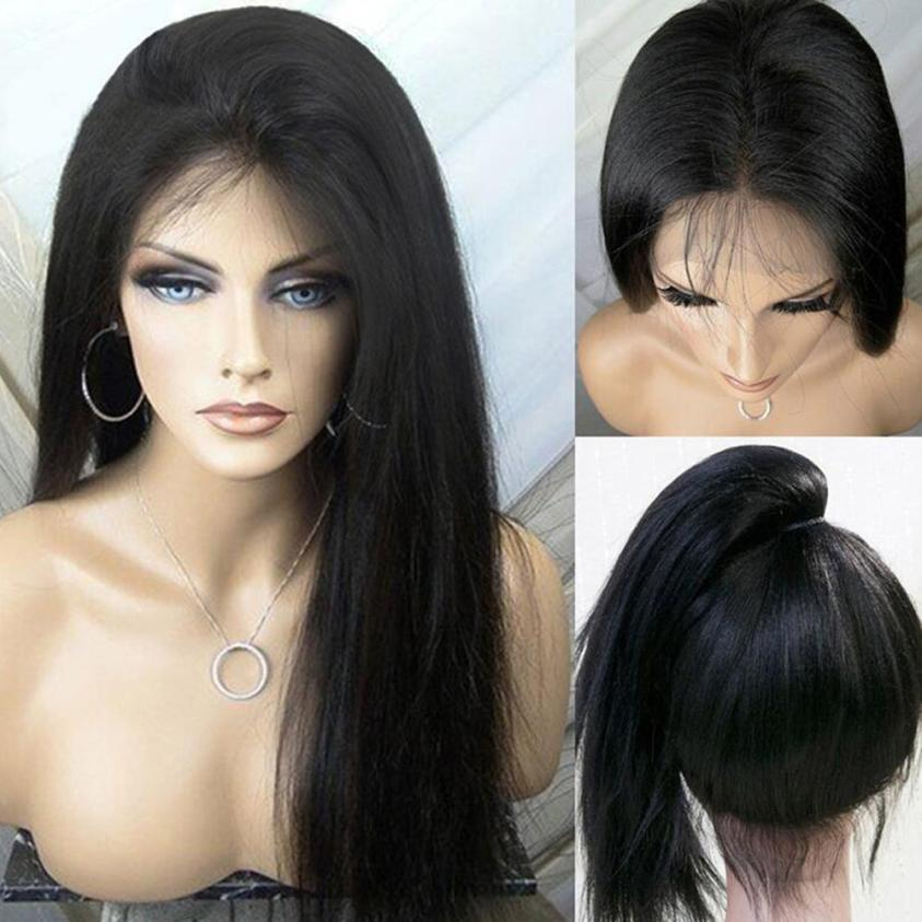 Human Hair Wigs For Women Long Straight Lace Front Full Wig 0703 stylish straight neat bang human hair bob women s wig