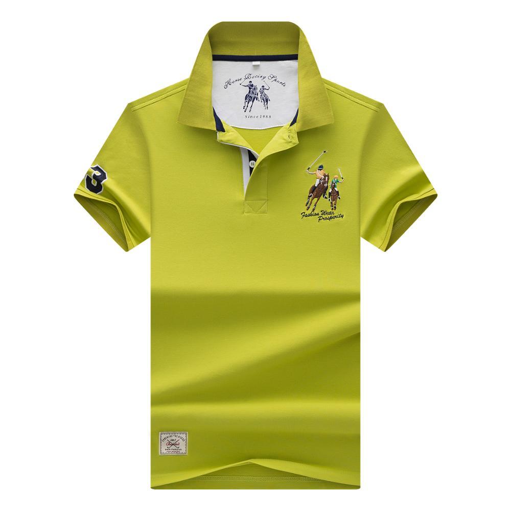 Hollirtiger Men Summer   Polo   Shirt 2019 Brand Men's Fashion Cotton Short Sleeve   Polo   Shirts Male Solid Jersey Breathable Tees