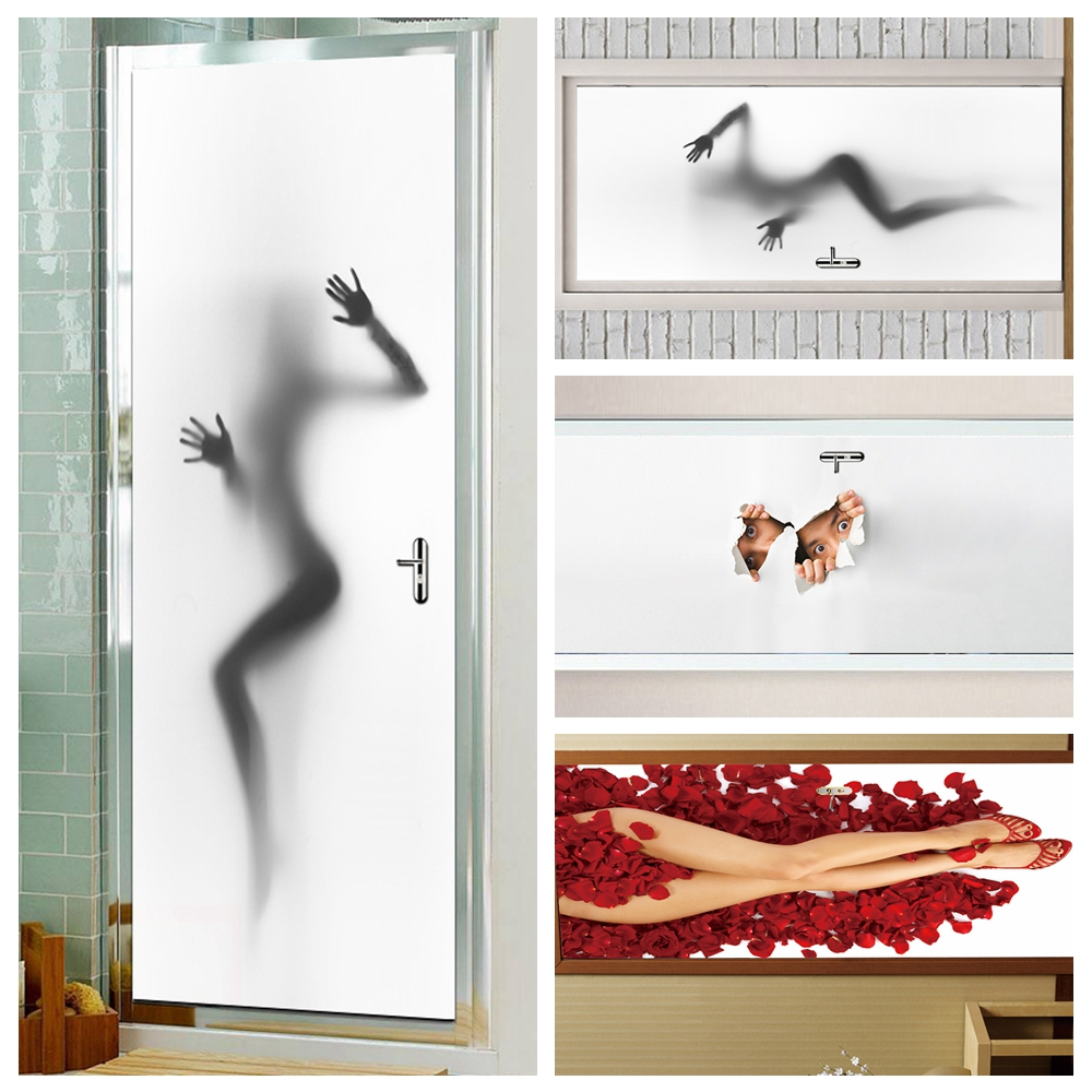 Naked Girl Woman Bathroom Door Stickers Waterproof Self-adhesive Pvc Door Wallpaper Mural Home Decoration 77cm*200cm