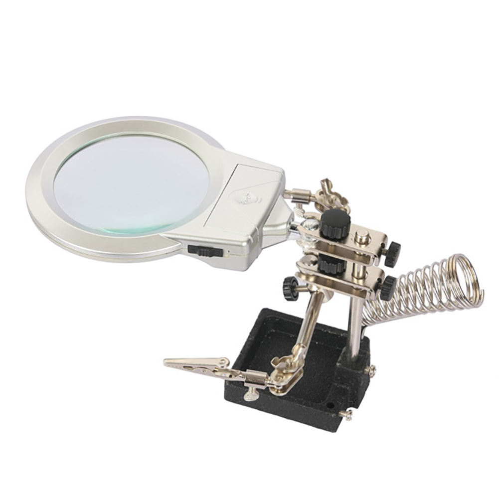 New arrival Stand Magic 2 LED Light 2X Magnifier Desk Lamp Repair Clamp Desktop Magnifying Glasses with Alligator Clip 5lens led light lamp loop head headband magnifier magnifying glass loupe 1 3 5x y103